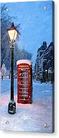 Acrylic Print featuring the painting Red Phone Box by James Shepherd