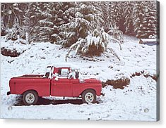Acrylic Print featuring the photograph Red Pickup Truck On The Snow by Eduardo Jose Accorinti