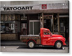 Red Pickup Truck Acrylic Print by Russ Dixon