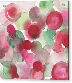 Red Pink Green Abstract Watercolor Acrylic Print by Beverly Brown