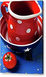 Red Pitcher And Tomato Acrylic Print by Garry Gay