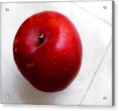 Red Plum On A White Cloth Acrylic Print
