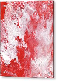Red Plume, Abstract Acrylic Painting Acrylic Print by Cara Bevan
