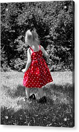 Red Polka Dot Dress And Mommy's Shoes Acrylic Print