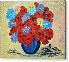 Red Poppies And All Kinds Of Daisies  Acrylic Print