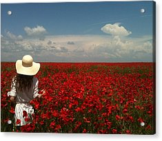 Red Poppies And Lady Acrylic Print