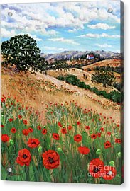Red Poppies And Wild Rye Acrylic Print