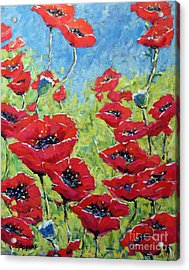 Red Poppies By Prankearts Acrylic Print by Richard T Pranke