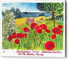 Red Poppies Coastal Maine Island June Garden North Haven  Acrylic Print by Catinka Knoth