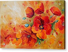 Red Poppies Impressionist Abstract Painting By Artist Ekaterina Chernova Acrylic Print