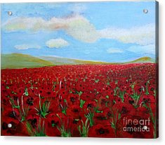 Red Poppies In Remembrance Acrylic Print