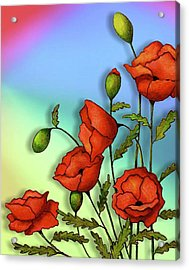 Red Poppies On Multi-colored Background Acrylic Print