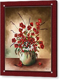 Acrylic Print featuring the digital art Red Poppies by Susan Kinney