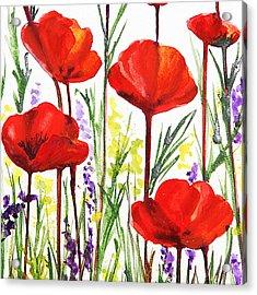 Acrylic Print featuring the painting Red Poppies Watercolor By Irina Sztukowski by Irina Sztukowski
