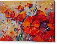 Red Poppy Meadows Acrylic Print