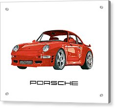 Red Porsche 993 1997 Twin Turbo R Acrylic Print by Jack Pumphrey