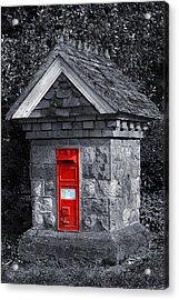 Red Post Box Acrylic Print by Simon Kayne