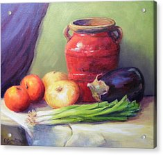Red Pot In Still Life Acrylic Print