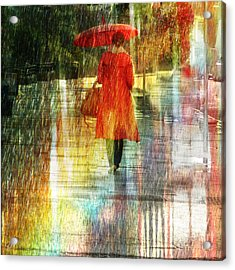 Red Rain Day Acrylic Print by LemonArt Photography