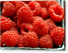 Red Raspberries Acrylic Print by Sonja Anderson