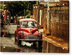 Red Retromobile. Morris Minor Acrylic Print
