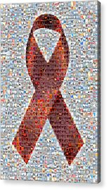 Red Ribbon To Benefit Cap Acrylic Print by Boy Sees Hearts