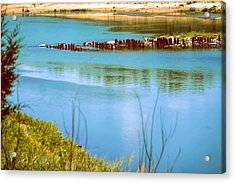 Acrylic Print featuring the photograph Red River Crossing Old Bridge by Diana Mary Sharpton