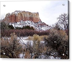Red Rock Butte In Snow Acrylic Print