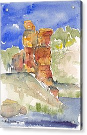 Acrylic Print featuring the painting Red Rock  Canyon by Anne Duke