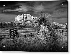 Acrylic Print featuring the photograph Red Rock Formation In Sedona Arizona In Black And White by Randall Nyhof