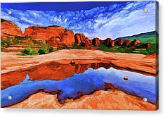 Red Rock Reflections Acrylic Print by ABeautifulSky Photography