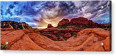 Red Rock Storm Acrylic Print by ABeautifulSky Photography