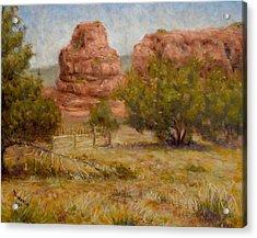 Red Rocks Below Jemez Springs Acrylic Print by Donelli  DiMaria