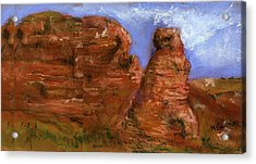 Acrylic Print featuring the painting Red Rocks by Marilyn Barton