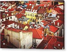 Red Rooftops Of Old Alfama Lisbon  Acrylic Print