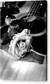Red Rose Acoustic Guitar Acrylic Print