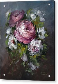 Red Rose And White Peony Acrylic Print by David Jansen