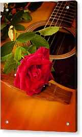 Red Rose Natural Acoustic Guitar Acrylic Print