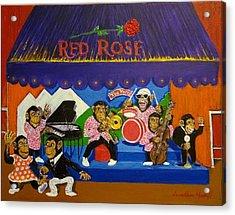 Red Rose Tea Chimpanzees Acrylic Print