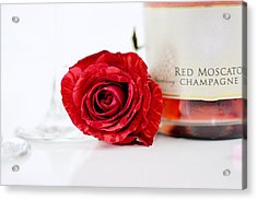 Red Rose With Champagne Acrylic Print