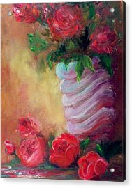 Red Roses For A Blue Vase Acrylic Print by Lynda McDonald