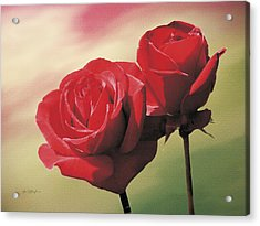 Red Roses Acrylic Print by Jan Baughman