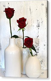 Red Roses On White Acrylic Print by Marsha Heiken