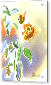 Acrylic Print featuring the painting Red Roses With Holly In A Vase by Kip DeVore