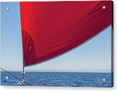 Acrylic Print featuring the photograph Red Sail On A Catamaran 2 by Clare Bambers
