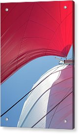 Acrylic Print featuring the photograph Red Sail On A Catamaran 4 by Clare Bambers