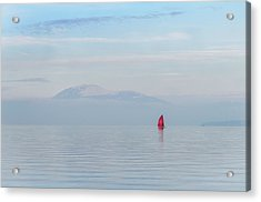 Red Sailboat On Lake Acrylic Print