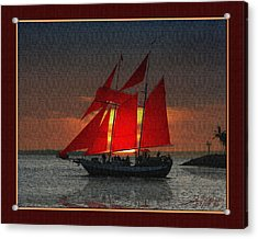 red sails at sunset in Key West Acrylic Print by John D Breen