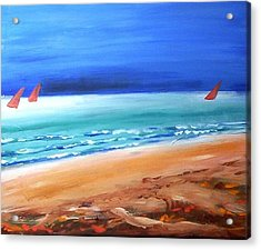Acrylic Print featuring the painting Red Sails by Winsome Gunning