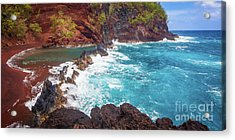 Red Sand Beach Panorama Acrylic Print by Inge Johnsson